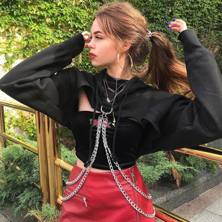 Hip hop hoodie frauen sweatshirt crop top hoodie bts sweatshirt gestellte streetwear übergroßen felpa donna Gothic top 5ZC0356F