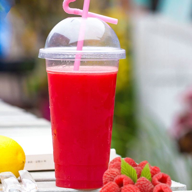 Taza de té desechable para leche de fiesta, taza de plástico para zumo de fruta, arena, hielo, 100 Uds 600ml