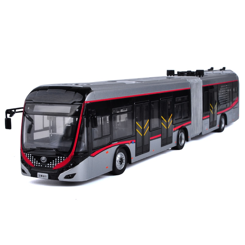Collectible Alloy Model Gift 1:42 Yutong Dual-source Trackless Trolleybus Transit Volume BRT Bus DieCast Toy Model Decoration alloy model 1 24 scale kinglong higer bev pure electric transit bus vehicle diecast toy model for collection decoration