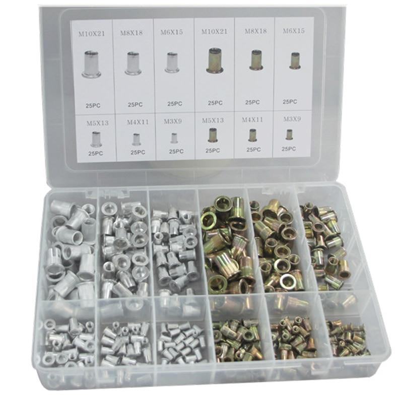 300 unids/caja de aluminio y acero remache tuerca combinación cilíndrica moleteada remache tuerca surtido