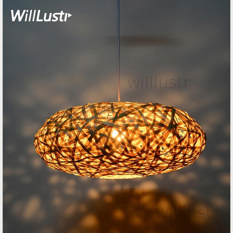 Fait à la main en bambou pendentif lampe oiseau nid maison chambre hôtel salle à manger restaurant tricoté à la main suspension suspension