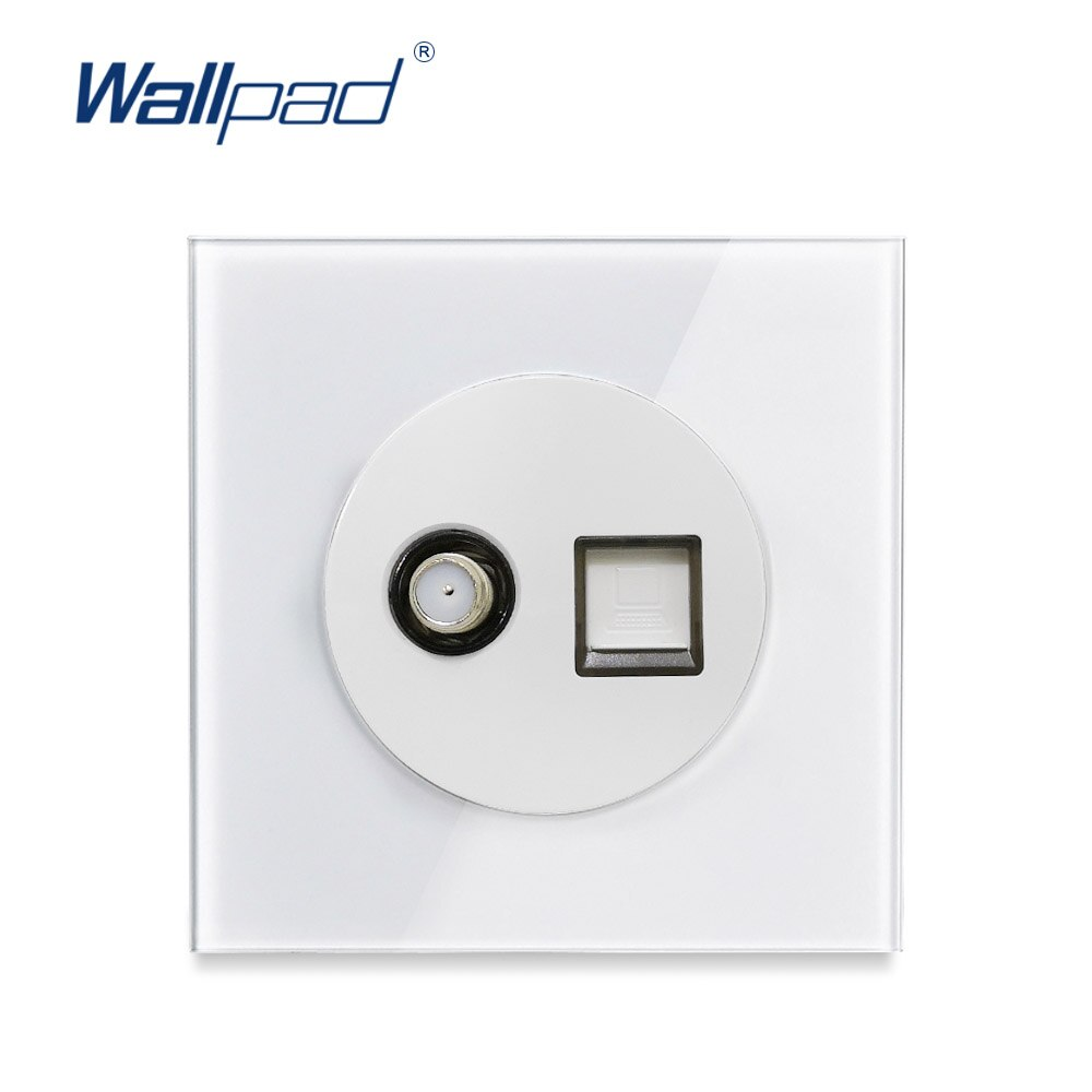 Wallpad L6 Marco de cristal blanco antena satélite TV & RJ45 Ethernet PC CAT6 salida de datos placa frontal de pared