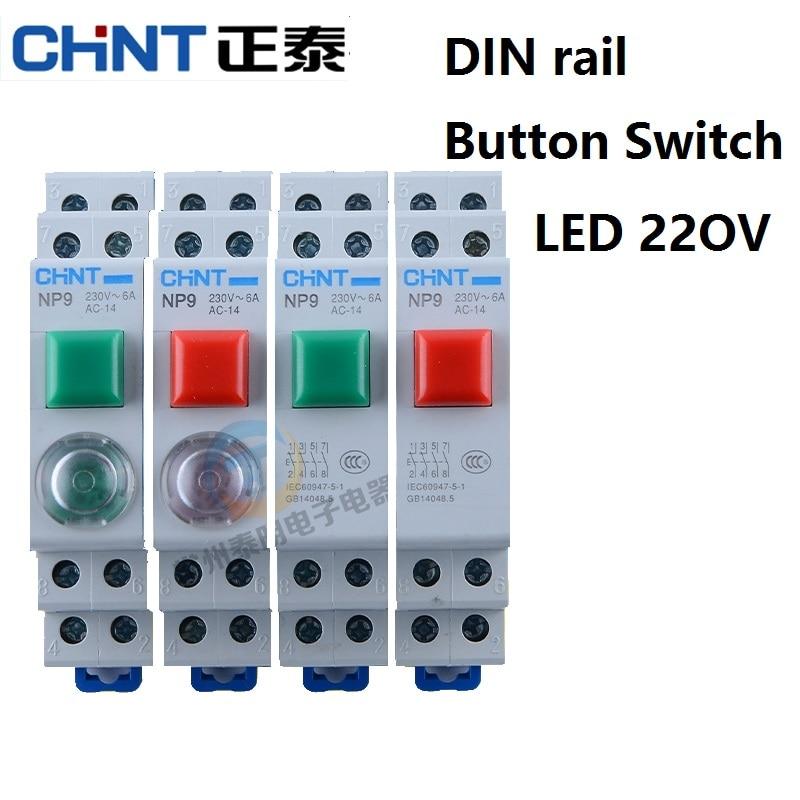 CHINT CHNT NP9 кнопочный переключатель карта din-рейка Кнопка сброса переключателя с движущимся светом LED 220В