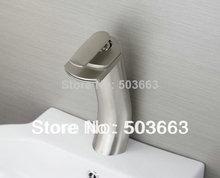 Shine Deck Mounted Nickel Brushed Bathroom Basin Sink Waterfall Faucet Vanity Mixer Tap L-6031 Mixer Tap Faucet