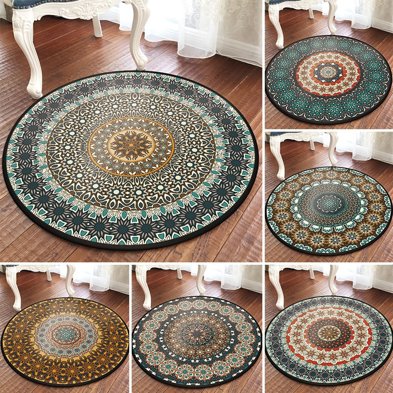 Alfombra redonda mandala tótem étnico vintage Nacional Turca antideslizante para balcón, mesa de centro, cesta colgante, alfombra decorativa para el hogar