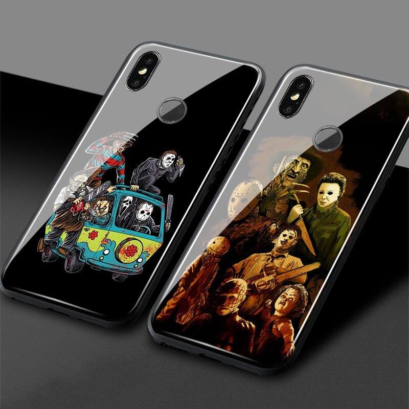 Фильм ужасов иконы закаленное стекло Мягкий силиконовый чехол для телефона для Xiaomi mi 8 9 SE mi x 2 2s 3 красный mi Note 5 6 7 8 Pro