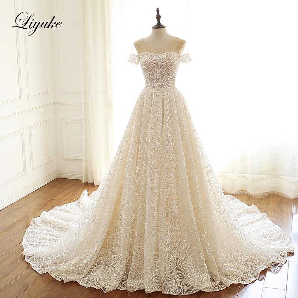 Liyuke Embroidery Lace Scalloped Neck A-Line Wedding Dress  Short Sleeve Wedding Gown plain lace embroidery a line beach dress