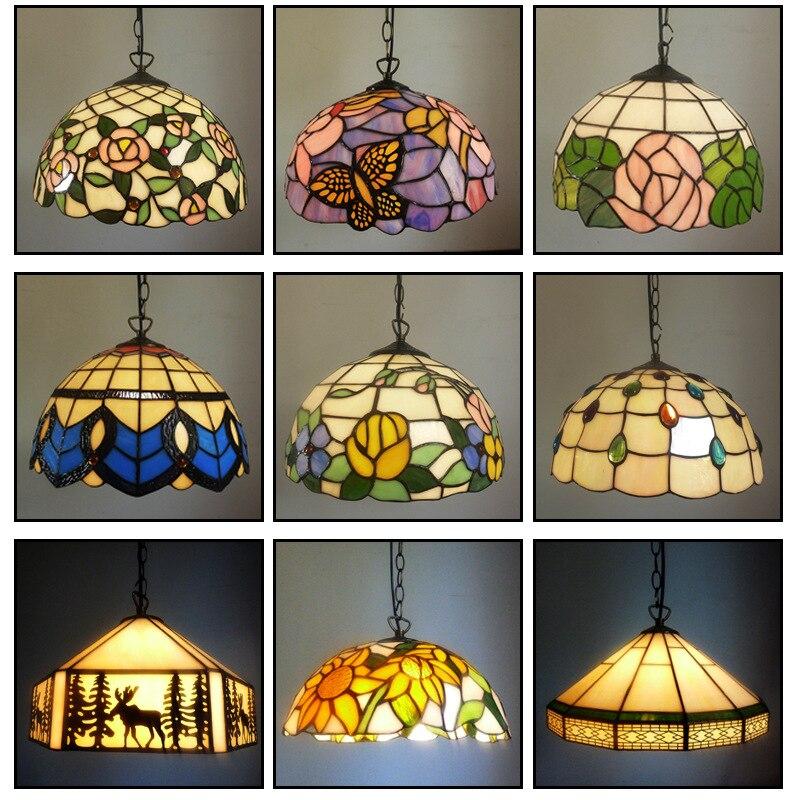 Luces colgantes Tiffany barrocas, cadena de luces manchadas, luminaria suspendida para el hogar, salón, comedor, lámparas de habitación E27 110-240V