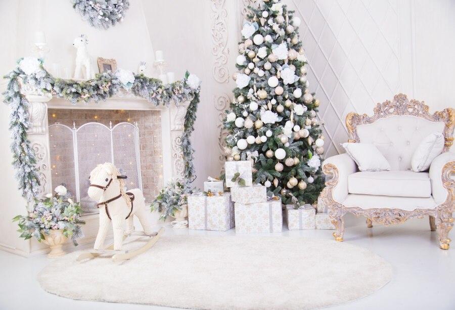 Telones de fondo para fotografía de Laeacco, árbol de Navidad y chimenea, sillón, regalo, juguetes para bebés, fondos para fotografía Interior, estudio fotográfico, Photocall
