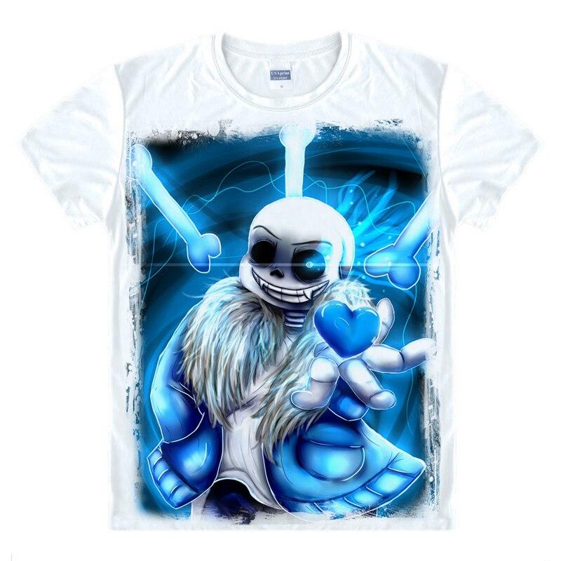 Jogos de moda Undertale Irmão Impresso T-shirt Do Crânio Camisa Extravagante T de Manga Curta T-shirt O-pescoço Dos Homens/Mulheres Tops de Verão