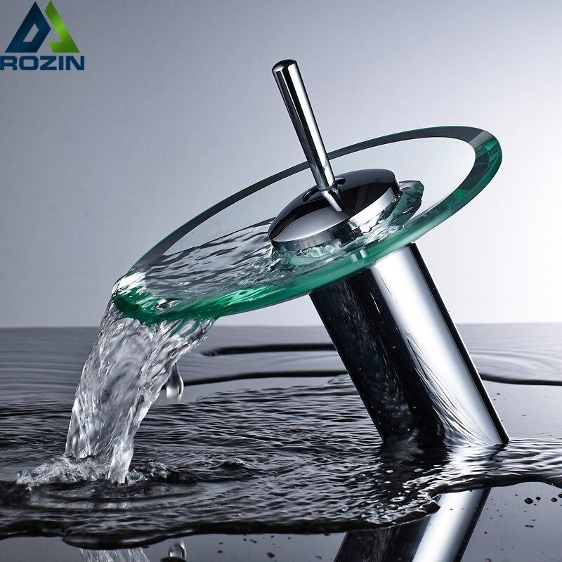 ¡Envío gratis! grifos de cascada de vidrio, grifos de lavabo de tocador para baño Palanca única, mezcladores con agua caliente y fría montada en cubierta