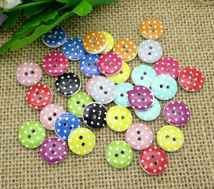 50 pcs Misturado Madeira Redonda Dot Botões Para Roupas de Costura Botones Scrapbooking De Madeira Decorativa Artesanato Acessórios de Costura DIY