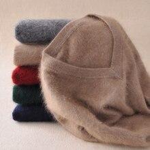 Nerz Kaschmir Pullover Männer Langarm Pullover Outwear Mann V-ausschnitt pullover Tops Lose Solide Fit Stricken Kleidung 9 Farben Neue
