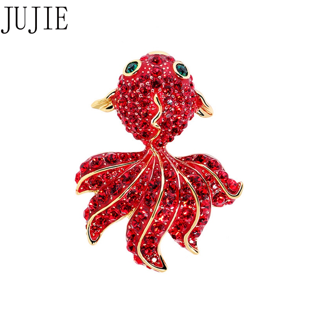 Jujie moda vermelho esmalte peixe broches para as mulheres 2020 luxo original dourado brincos animal broche pinos jóias dropshipping