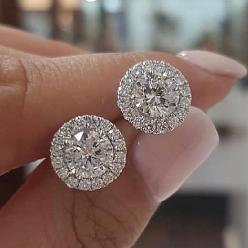 Dámské luxusní křišťálové kulaté cvočkové náušnice vintage stříbrná barva svatební šperky bílé zirkonové kamenné náušnice pro ženy