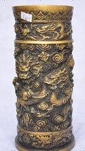 """Xd 002234 10 """"oznaczono stary chiński w kolorze brązu smok bestia zagraj paciorek statua pojemnik na pędzle wazon na ołówki"""