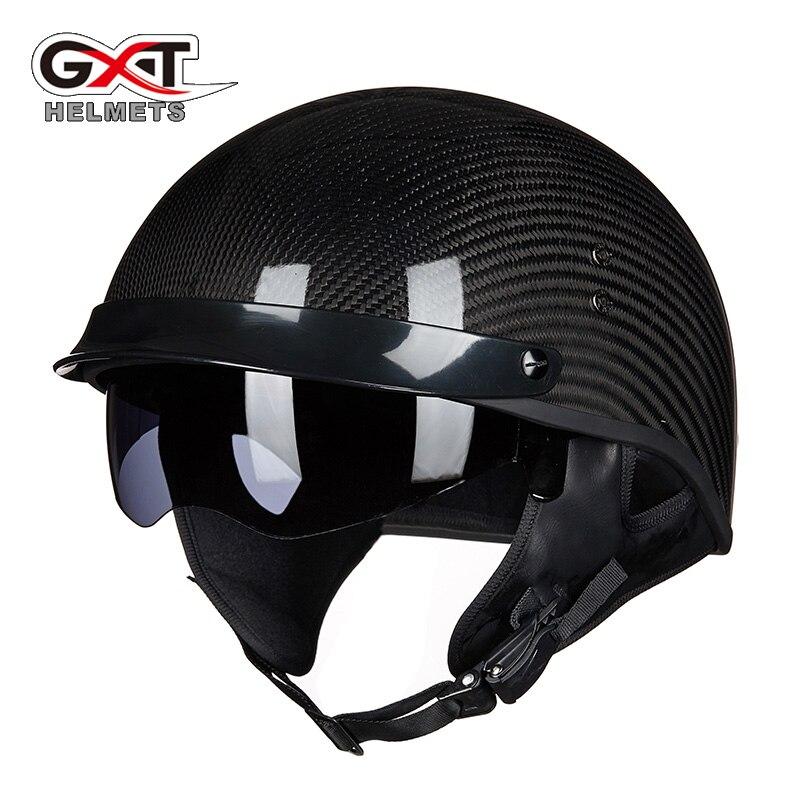 GXT 510 half face  motorcycle helmet carbon fiber open face vintage moto helmet chopper scooter racing motorbike helmets
