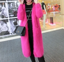 2020 New Custom Real Mink Cashmere Sweater Lining Nature Pure Mink Cashmere Cardigans Wholesale Big Size OEM Fur Coat TBFP969