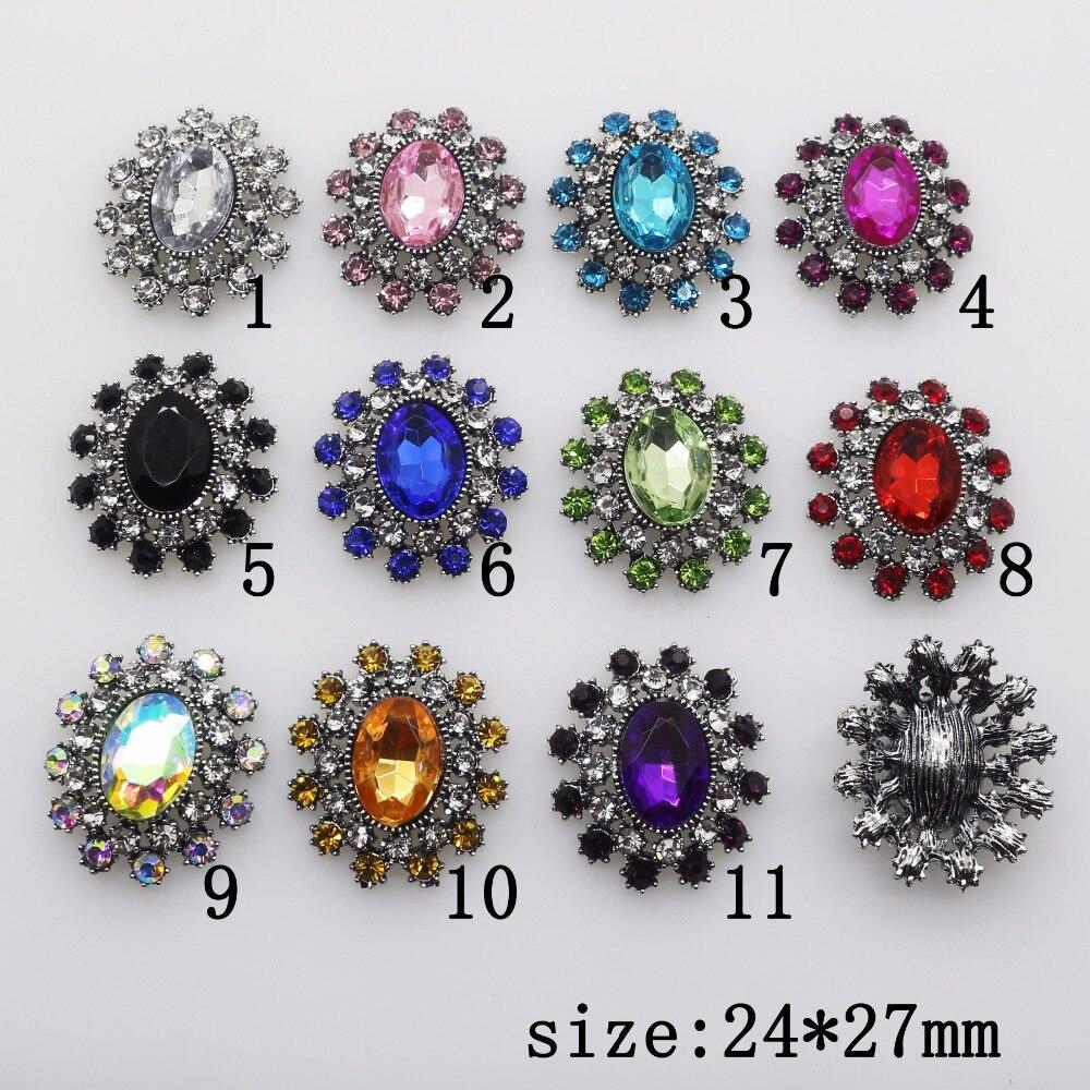 Fashion Hot 10Pcs 24*27mm oval Alloy Diy jewelry Accessories Flat Back Rhinestone Acrylic Base Wholesale Handmade Fitting mix
