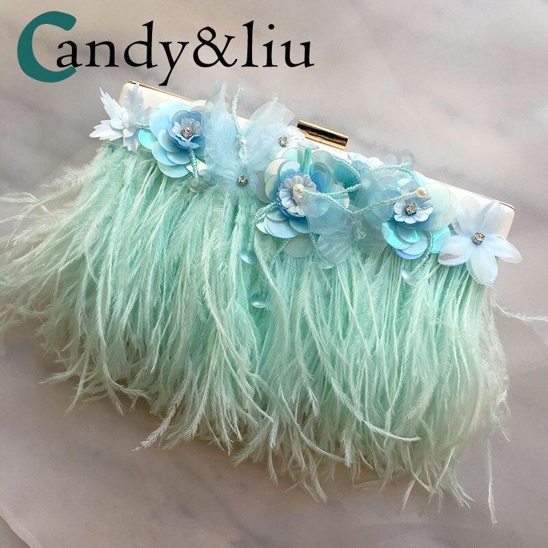 Bolsos De mujer hechos a medida con cadena de oro elegante embrague de pluma producción Original de alta calidad Tassle Fairy Wind Purse lindo
