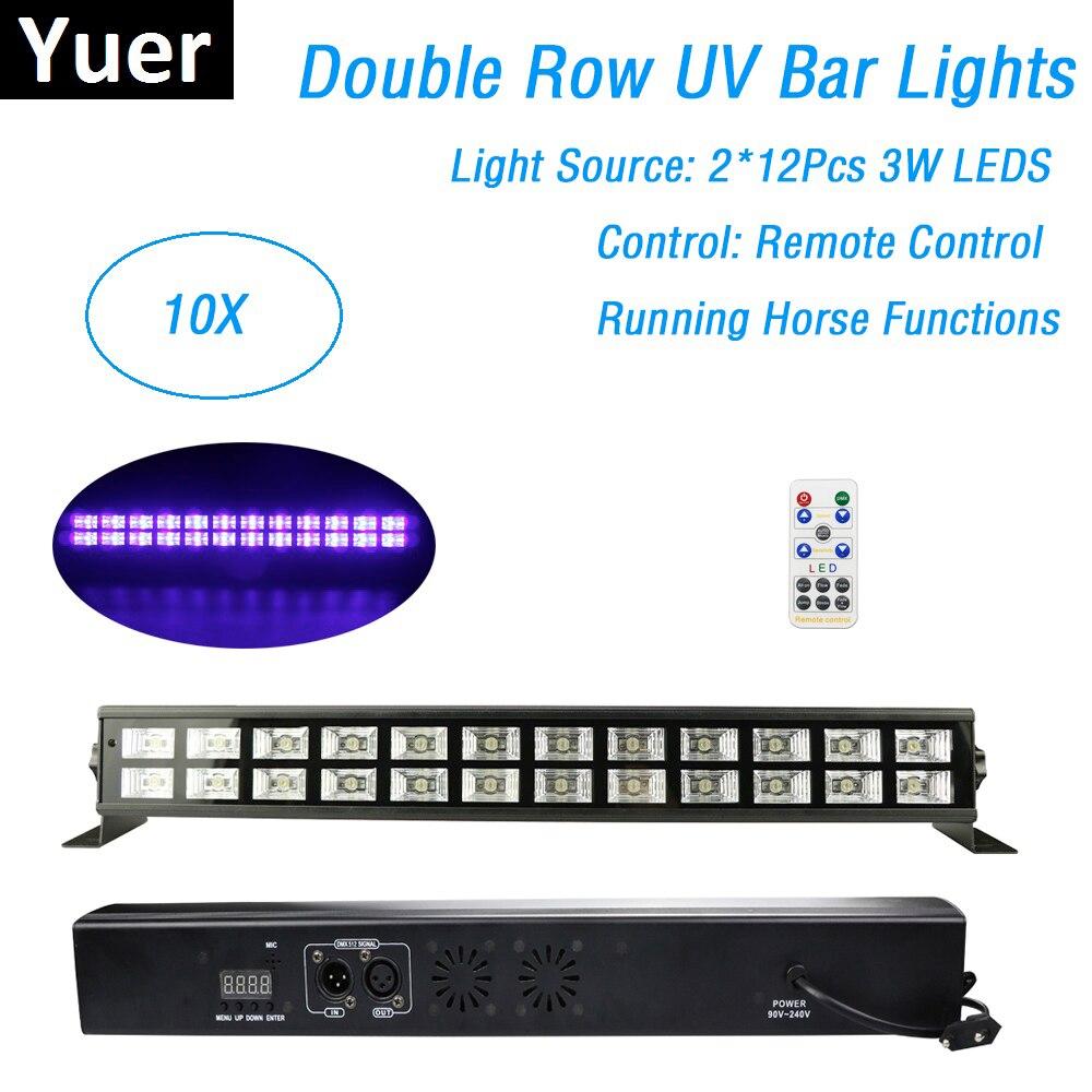 10 unités 24X3W UV couleur scène lumière noire barre de LED télécommande DMX effet déclairage de scène Disco Xmas Party intérieur Dj lumières