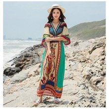 Femmes bohème robe de plage demi manches Maxi cheville-longueur vacances été dames robe vêtements