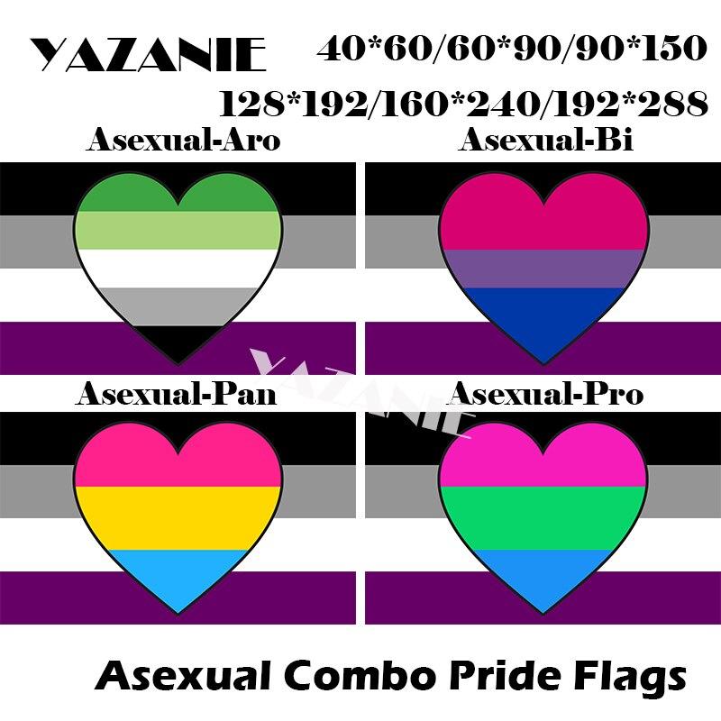 YAZANIE * 128*192cm/160*240cm/192*288cm LGBT Asexual Aromantic Bisexual Pansexual Polysexuality arco iris de coches a mano Combo orgullo banderas