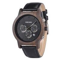 BOBO BIRD Luxury brand wooden Watches men Quartz reloj hombre leather wrist watch Stopwatch in wood box erkek kol saati