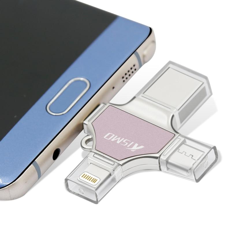 Kismo lecteur Flash USB 4 en 1 USB2.0   Bâton de mémoire, Type C, stylo, pour Samsung S8 S9 Note 8 Mate 10 P20 Mi8 iphone 6 7 8 X