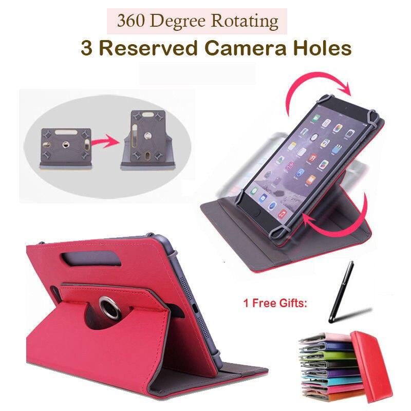 Para MODECOM FREETAB 9004/9000 9 pulgadas giratorio 360 grados Universal Tablet PU Funda de cuero Stylus gratis Pen