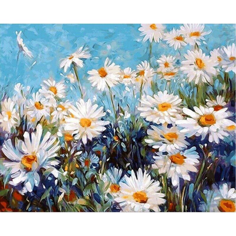 Volando salvaje Chrysanthemum.40x50cm, pintura por números, bricolaje, arte de pared, decoración de sala de estar, paisaje, figura, Animal, flor, dibujos animados