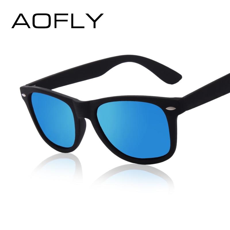 AOFLY Fashion Sunglasses Men Polarized Sunglasses Men Driving Mirrors Coating Points Black Frame Eye