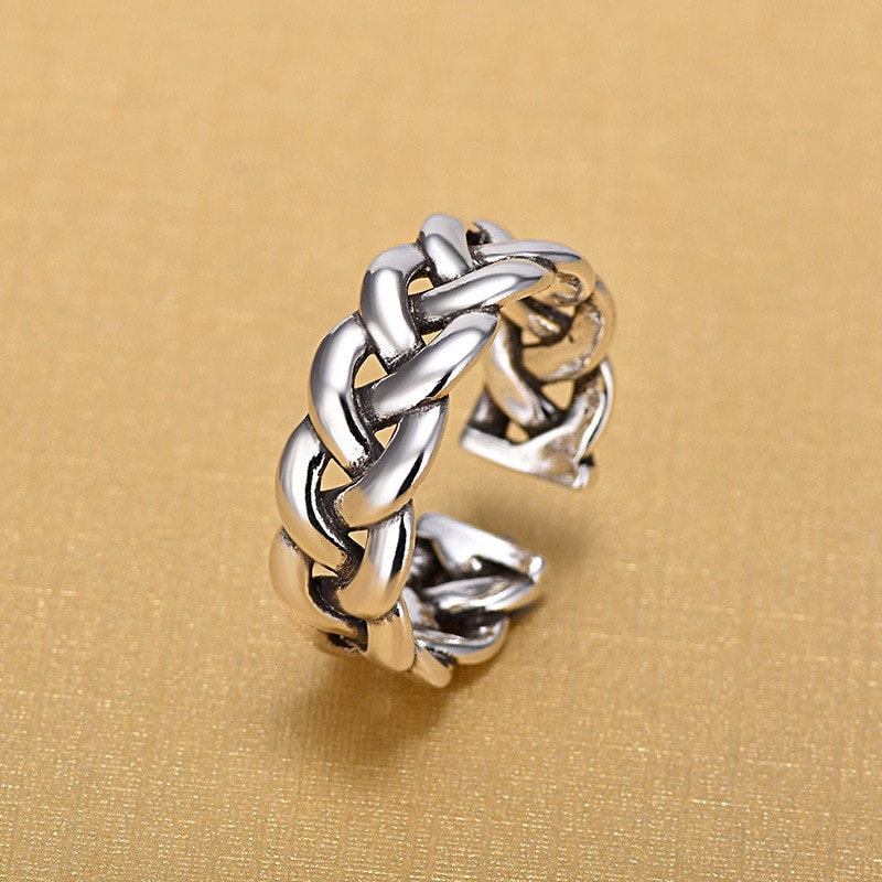 New Arrivals Retro 925 Sterling Silver Open Weaving Hollow Rings for Women Ring Fashion Jewelry