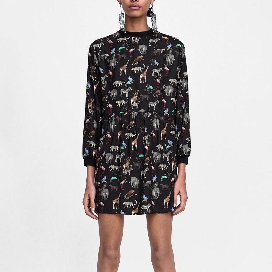 2020 Za Frauen Animal Print Shirt Kleid Za Lose Retro Tier Druck Gefaltete Kleider Vestidos Heißer Verkauf Frauen Kleidung Vestidos