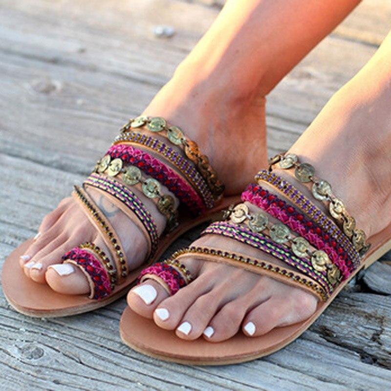 Женские сандалии на плоской подошве NAN JIU, летние сандалии на плоской подошве со стразами ручной работы в стиле бохо, большие размеры, 2019