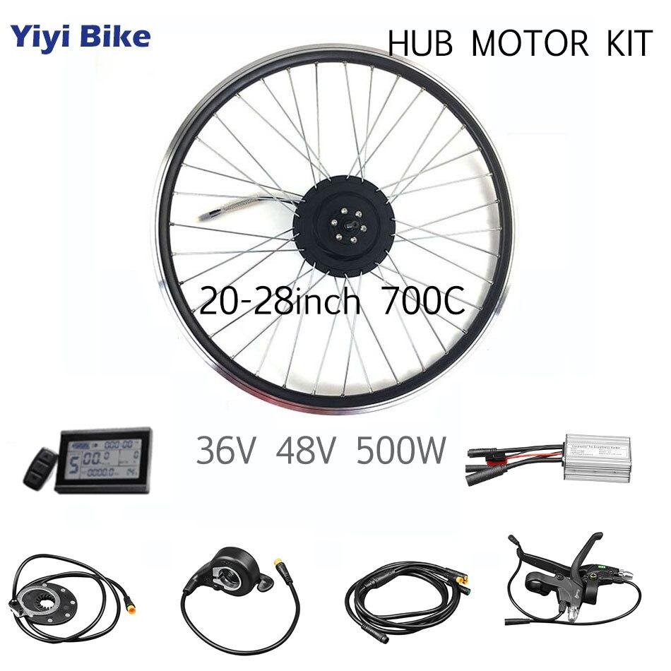 Rueda de Motor sin escobillas para bicicleta eléctrica, 48V, 36V, 500W, Kit...