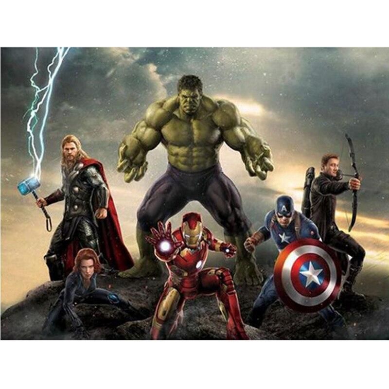 Mosaico de diamante Diamante Bordado Avengers Thor 5D Presente Ofício DIY Pintura Diamante do Ponto da Cruz Pinturas Capitão América
