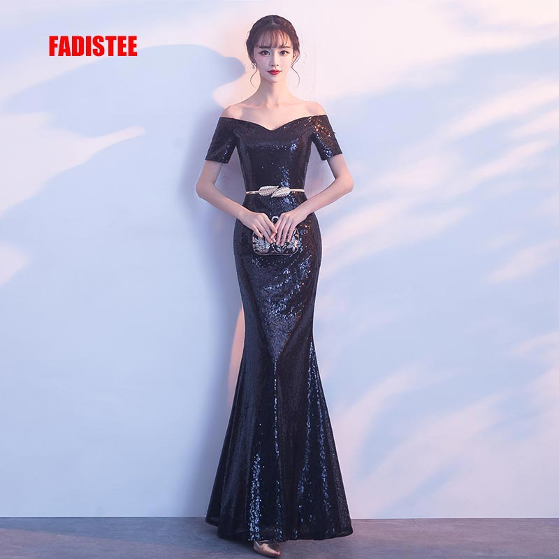 FADISTEE-فستان سهرة كلاسيكي ، فستان سهرة ، أسود فاخر ، أكمام قصيرة ، طويل ، دانتيل ، مجموعة جديدة