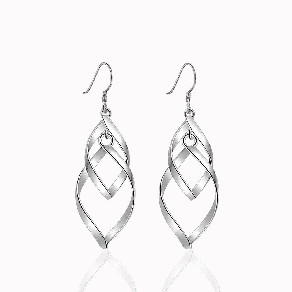 Eaarings para señora de alta calidad Simple espiral Ear Line pendientes de joyería de hoja de moda para las mujeres accesorio de gota larga al por mayor