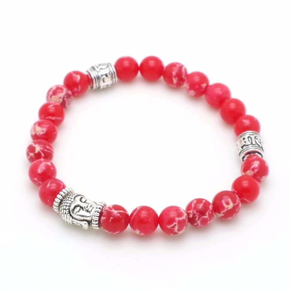 Mens Womens 7 Chakra Bracelets Bangle Healing Crystals Stone Yoga Reiki Chakra Pray Mala Charm Bracelet Jewelry Red