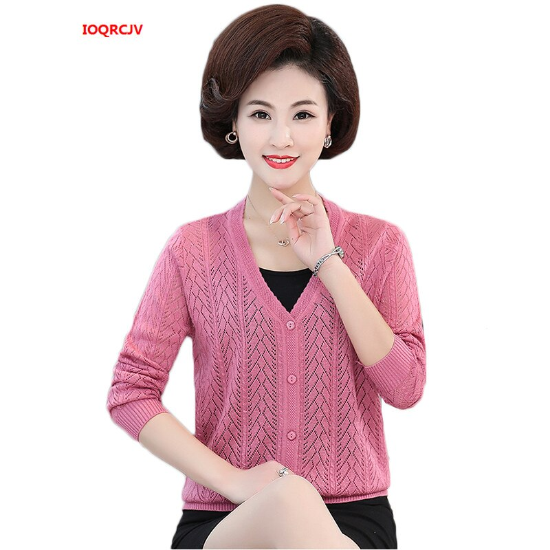 Suéter de mujer 2019 primavera moda fina punto cárdigan de mediana edad madre suéter abrigo mujer Casual manga larga Tops W1083
