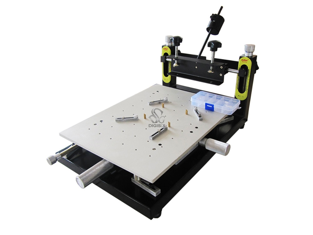 free shipping discount with gift 4 color 2 station silk screen printing machine tshirt printer press equipment carousel squeegee Free shipping New Arrival High Precision Printer Platform 300*400mm Manual Stencil Printer machine Silk Printing Machine