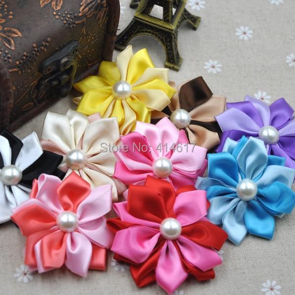 10pcs satin ribbon flowers W/pearl Appliques Craft DIY Wedding 9 Colos A268