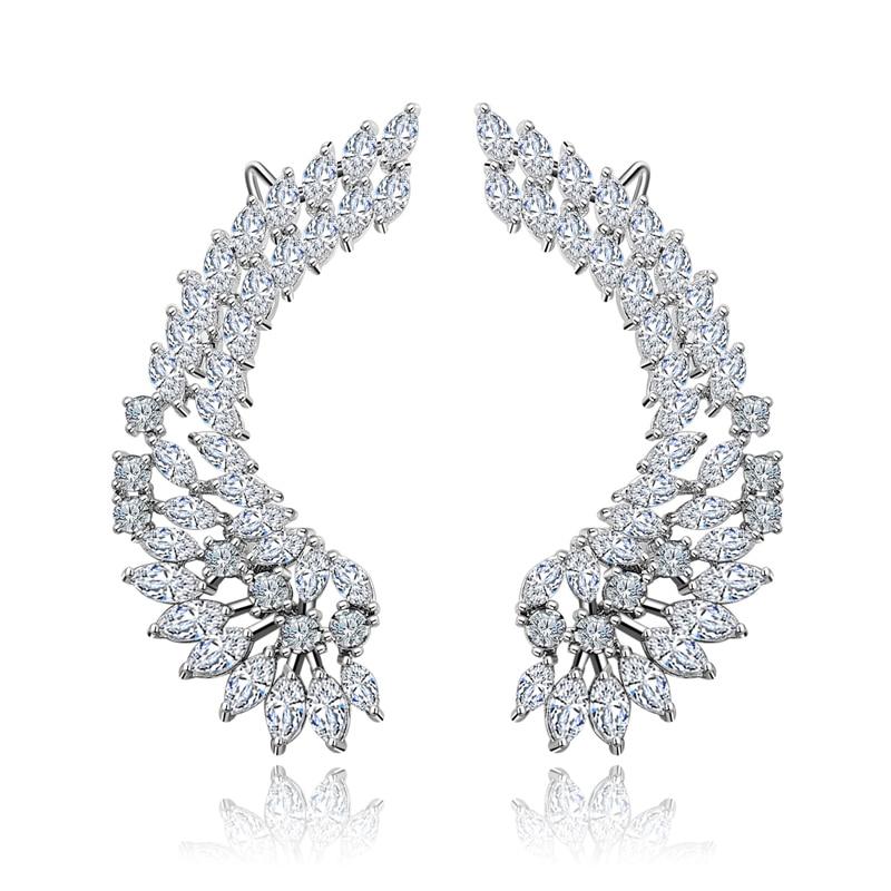 XIUMEIYIZU 925 Luxury Lady's Silver Post Cubic Zircon Crystal Angel Wing Ear Sweep Wrap Cuff Earrings Climber Earrings