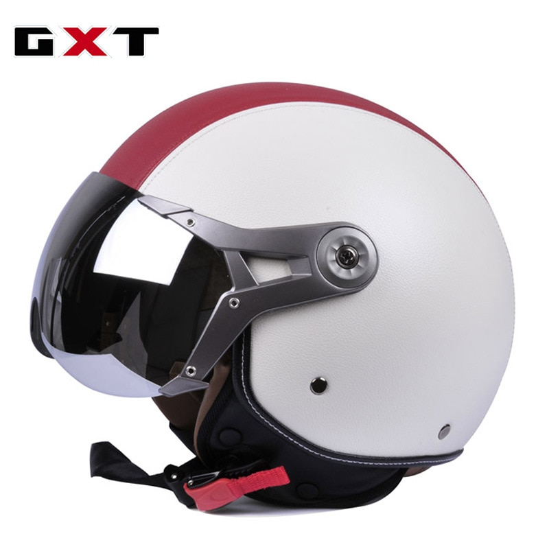 Cascos Retro para motocicleta, medio casco sintético, Vintage, Moto, Unisex, cascos para Motocross con gafas ajustables, Capacete, talla L/XL