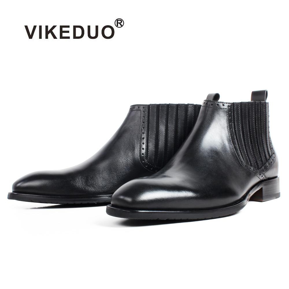 VIKEDUO 2020 جديد الأسود الكاحل دراجة نارية أحذية الرجال الجلد المدبوغ الخريف حقيقية جلد العجل الأحذية الذكور الزنجار مفصل أحذية بوتاس هومبر