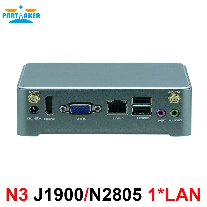 Mini PC Windows 10 Intel J1900 N2805 i3 4020Y Mini ordinateur Barebone sans ventilateur 2 Lan HTPC TV Box Nano industriel Mini PC VESA N3