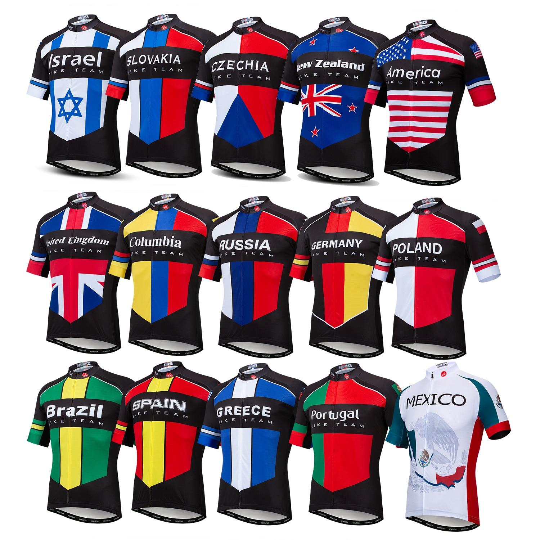 2019 Jersey de Ciclismo para hombre, EE. UU./Rusia/Brasil, verano, manga corta, MTB, Ropa de Ciclismo, Jersey, Ropa, Maillot, camiseta, Tops