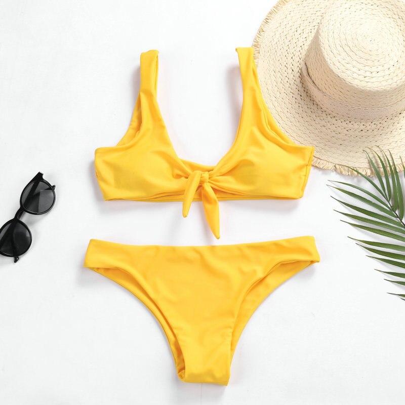 Swimwear Women Yellow Bikini 2020 Sexy Bikini Push Up Solid Bathing Suit Women Beachwear Bow Swiming Suit Womens Bikinis 2020