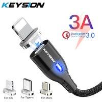 Магнитный кабель KEYSION Micro USB Type-C для iPhone, кабель Lightning 1 м 3 А, провод для быстрой зарядки, магнитное зарядное устройство, кабель для телефона